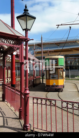Seaton tramway car number 10 painted in Glasgow Livery Devon england uk - Stock Photo
