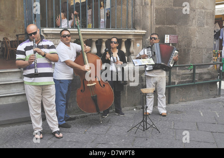 Street musicians in Sorrento, Italy. - Stock Photo