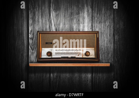 Beautiful old vintage wooden radio receiver device - Stock Photo
