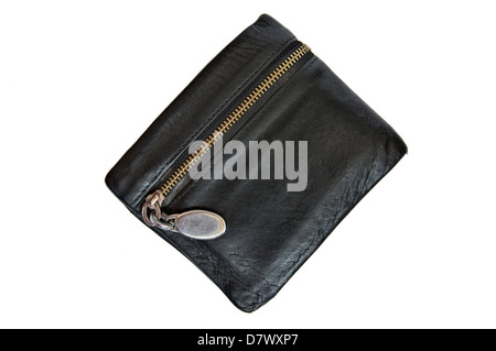 Leather black wallet with zipper isolated on a white background. - Stock Photo