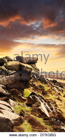 Curbar Edge, Derbyshire - Stock Photo