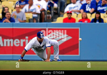 Los Angeles, CA. USA. May 14, 2013. Los Angeles Dodgers right fielder Andre Ethier #16 slides and is unable to make - Stock Photo