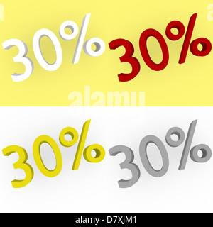 3d Render 30 percent in white, red, silver and gold - Stock Photo