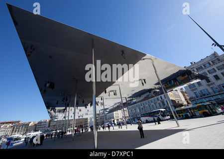 Norman Foster's l'Ombrière on the Vieux Port of Marseille - Stock Photo