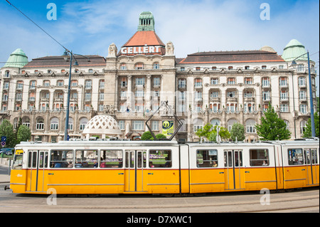 Budapest , Hungary , luxury oldest , Gellert Hotel , Spa Baths complex built 1927 thermal spa & swimming pools tram - Stock Photo