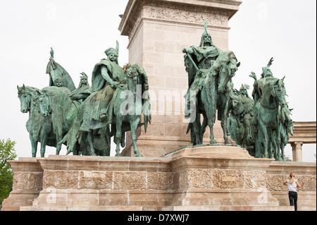 Budapest Hungary Varoliget District 1896 Hero's Milennium Square statues of leaders politicians & Archangel Gabriel - Stock Photo