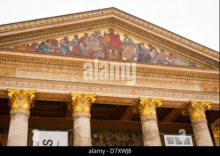 Budapest Hungary Varoliget District 1896 Hero's Milennium Square Mucsarnok Art Gallery ornate wall detail facade - Stock Photo