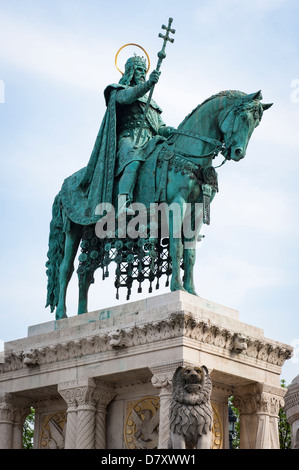 Budapest , Hungary , Fisherman's Bastion , statue sculpture bronze St Saint King Stephen 1 of 7 Magyar tribes crowned - Stock Photo