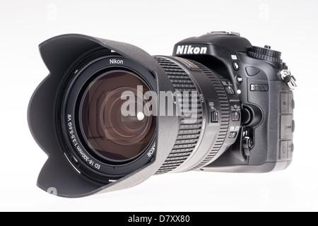 Nikon D7100 digital SLR - camera with 18-300mm suoperzoom lens. - Stock Photo