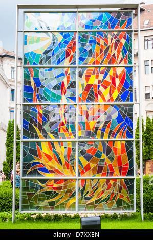 Budapest Hungary Great Synagogue Zsinagoga Raoul Wallenberg Holocaust Memorial Park modern contemporary stained - Stock Photo