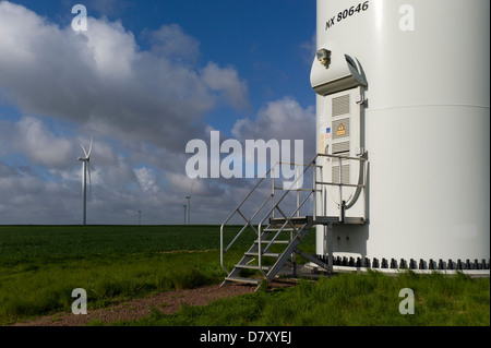 base door and ladder of wind turbine, Normandy, France - Stock Photo