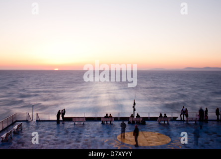 ferry boat silhouette with passengers at sunset stock photo royalty free image 82628646 alamy. Black Bedroom Furniture Sets. Home Design Ideas