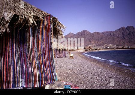 Bedouin style resort village in Ras el Satan beach resort near Nuweiba in the eastern part of Sinai Peninsula, Red - Stock Photo