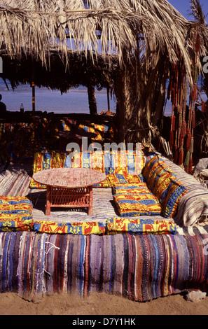 A Bedouin campsite in Nuweiba Tarabin beach in Nuweiba also spelled: Nueiba a coastal town in the eastern part of - Stock Photo