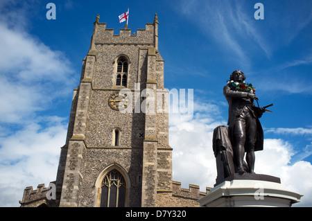 Thomas Gainsborough statue, Sudbury, Suffolk, UK. - Stock Photo