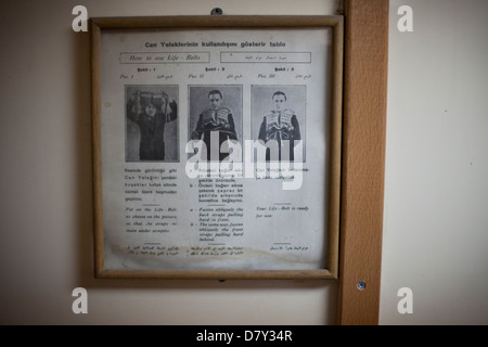 Turkish / arabic life vest instructions - Stock Photo