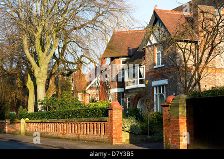 Substantial houses, Elm Road , Didsbury, Manchester, UK - Stock Photo