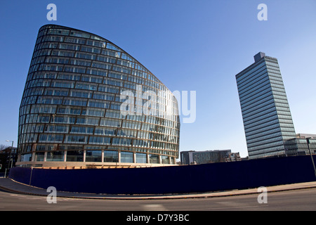1 Angel Square,Co-operative Group's new HQ, 1st phase of NOMA development, 1960s CIS tower to right, city centre, - Stock Photo