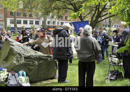 Supporters of International Conscientious Objectors' Day gather in Tavistock Square, London - Stock Photo