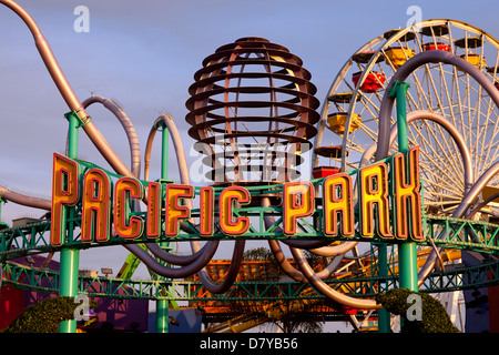 Entrance to Pacific Park on the Santa Monica Pier. - Stock Photo