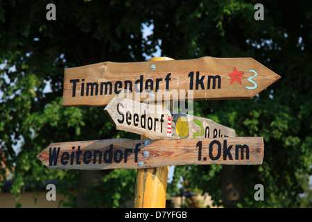 Trafic sign, Poel Island, Baltic sea coast, Mecklenburg, Germany - Stock Photo