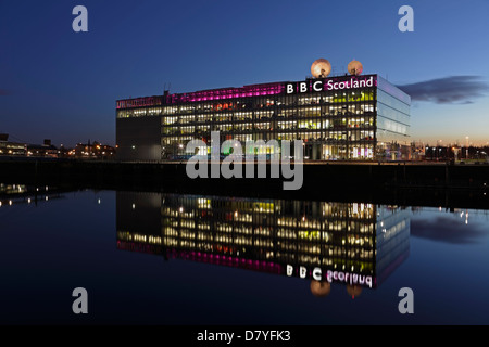 The BBC Scotland Headquarters on Pacific Quay in Glasgow at sunset, Scotland, UK - Stock Photo