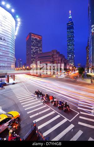 Xinyi district of Taipei, Taiwan - Stock Photo
