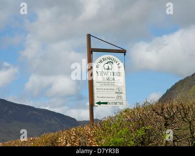 Sign for Yew Tree Farm, farmhouse bed & breakfast, Rosthwaite, Borrowdale, Lake District National Park, Cumbria, - Stock Photo