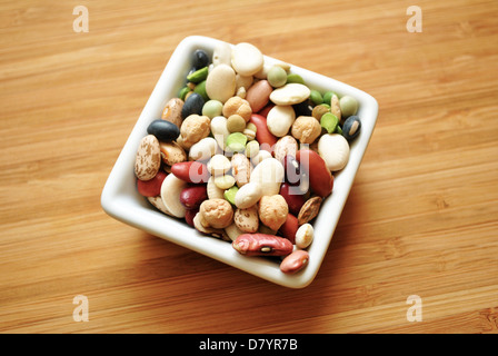 Dried Beans in a Square Bowl - Stock Photo