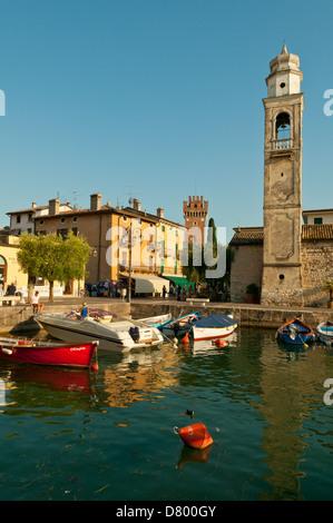 Harbour at Lazise, Lake Garda, Veneto, Italy - Stock Photo