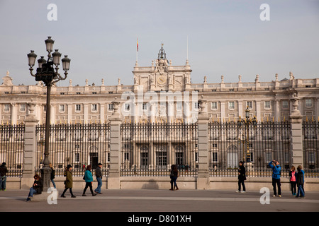 the kings palace Palacio Real and Plaza de la Armeria in Madrid, Spain, Europe - Stock Photo