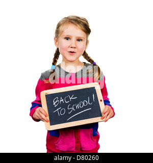 happy school girl with a traditionnal slate in his hands - Stock Photo