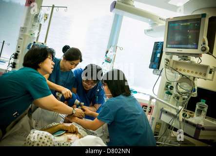 Medical staff use an oxygen tank to help revive the patient who is under anaesthetic in the intensive care unit. - Stock Photo