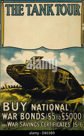 The tank tour. Buy national war bonds 1918 British Propaganda - - Stock Photo