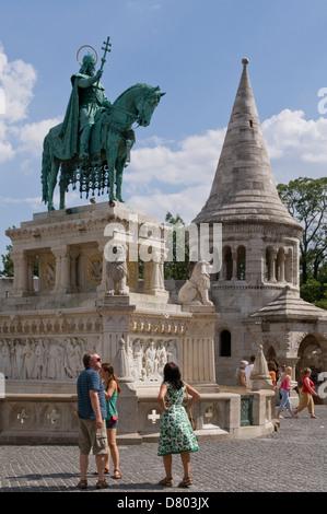 Equestrian Statue of King Stephen, Fisherman's Bastion, Buda, Hungary - Stock Photo