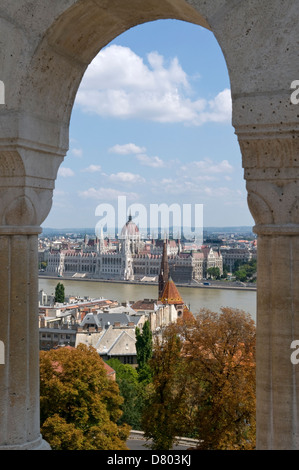 Parliament Building from Fisherman's Bastion, Buda, Hungary - Stock Photo