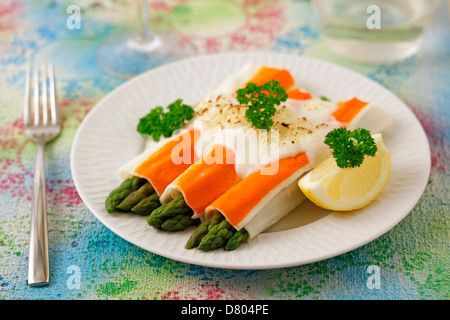 Crab rolls with wild asparagus. Recipe available. - Stock Photo