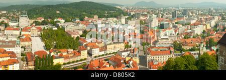Ljubljana from the Castle Panorama, Slovenia - Stock Photo