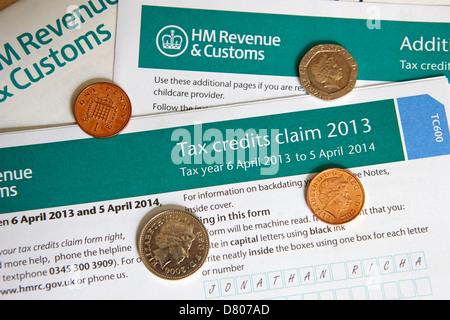 hmrc tax credits claim form - Stock Photo