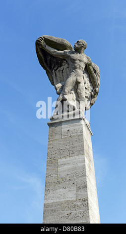 Memorial of Ferdinand Adolf Heinrich August Graf von Zeppelin, famous aircraft manufacturer, at the harbor of Constance - Stock Photo