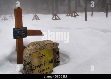WWI. Veneto, Italy, Asiago Plateau. Mount Mosciagh, Austro-Hungarian War Cemetery number 3 in the snow. - Stock Photo