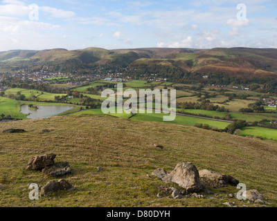 View from Caer Caradoc to the Shropshire town of Church Stretton, nestled beneath the Long Mynd - Stock Photo