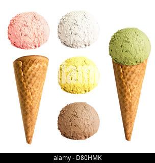 ice cream cone set isolated - Stock Photo