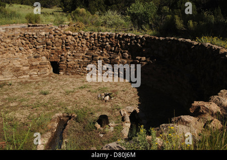 USA. Near Los Alamos. New Mexico. Bandelier National Monument. Multistory dwellings of Ancestral Pueblo People. - Stock Photo