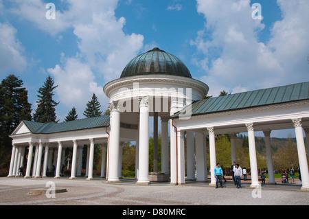 Neoclassical style Kolonada the colonnades (1869) at Karolinin pramen spring in Spa Gardens park Marianske Lazne - Stock Photo
