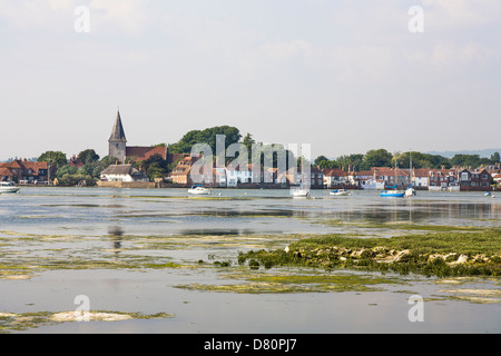 Bosham, Chichester, West Sussex, England - view across Chichester Harbour of Holy Trinity Church, mentioned in the - Stock Photo