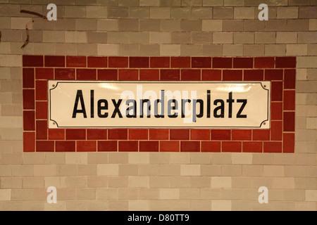 Sign of the station Alexanderplatz, the metro line U-Bahn U2 Berlin, Germany - Stock Photo