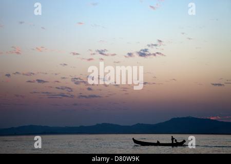 Vivid dusk over the Irrawaddy River at Mandalay, Myanmar - Stock Photo