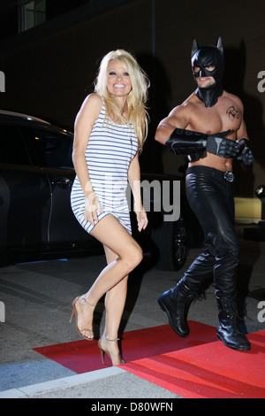 Pamela Anderson was in Bulgaria to participate in a Big Brother show. Here she arrives at the house of Big Brother. - Stock Photo