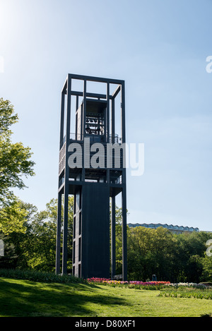 The Netherlands Carillon next to Arlington National Cemetery and the Iwo Jima Memorial. First donated in 1954, the Carillon was moved to its current location in 1960. It was a gift of the Netherlands to the United States in thanks for US aid during World War II. Stock Photo